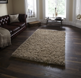 Amazon Am 10 Beige Shaggy Hand Tufted Rug - 60% Viscose 40% Wool