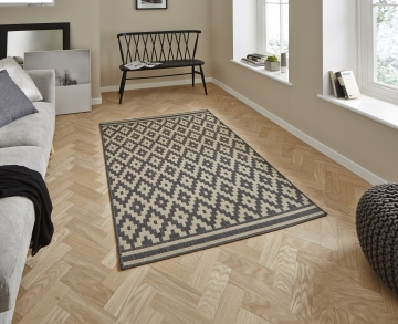 Cottage Ct5581 Anthracite/sand Flatweave Machine Made Rug - 100% Polypropylene