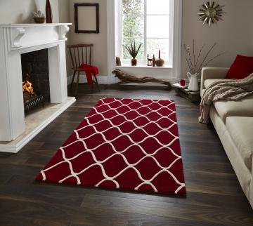 Elements El 65 Red Modern Hand Tufted Rug - 100% Wool