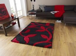 Fashion 7647 Black/red Modern Machine Made Rug - 100% Polypropylene