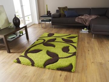 Fashion 7647 Green/brown Modern Machine Made Rug - 100% Polypropylene