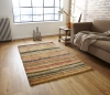 Hemp Stripe Natural Hand Knotted Rug - 100% Hemp