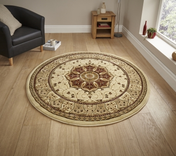Heritage 4400 Cream/red Circle Traditional Machine Made Rug - 100% Polypropylene