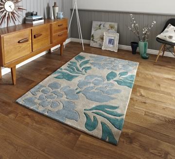 Hong Kong 33l Beige/blue Modern Floral Hand Tufted Rug - 100% Acrylic