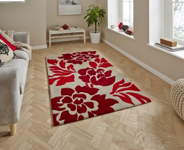 Hong Kong 33l Beige/red Modern Floral Hand Tufted Rug - 100% Acrylic