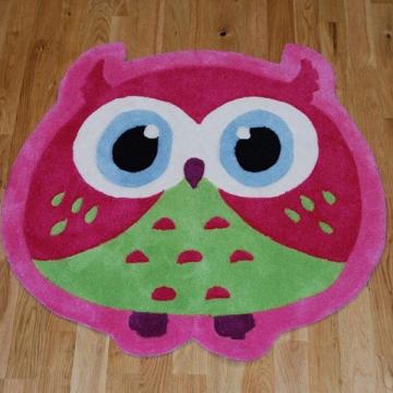 Hong Kong Owl Pink Kids Hand Tufted Rug - 100% Acrylic