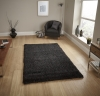 Loft 01810a Black Shaggy Machine Made Rug - 100% Polypropylene