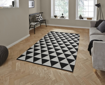 Manhattan Mh211a Black/white Flatweave Durrie Loom Woven Rug - 100% Cotton