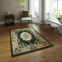 Marrakesh Dark Green Circle Budget Machine Made Rug - 100% Polypropylene