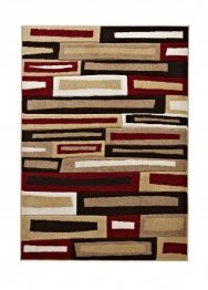Matrix Fr 40 Beige/red Modern Machine Made Rug - 100% Polypropylene
