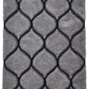 Noble House Nh30780 Silver Shaggy Hand Tufted Rug - 70% Acrylic 30% Polyester