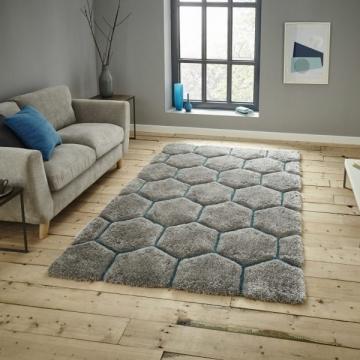 Noble House Nh30782 Grey/blue Shaggy Hand Tufted Rug - 70% Acrylic 30% Polyester
