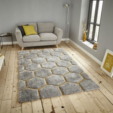 Noble House Nh30782 Grey/yellow Shaggy Hand Tufted Rug - 70% Acrylic 30% Polyester