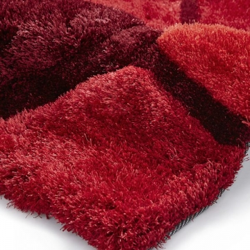 Noble House Nh30782 Red/black Shaggy Hand Tufted Rug - 70% Acrylic 30% Polyester