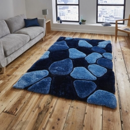 Noble House Nh5858 Blue Shaggy Hand Tufted Rug - 70% Acrylic 30% Polyester