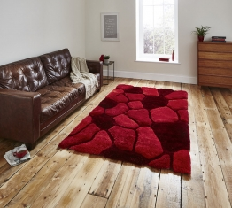 Noble House Nh5858 Red Shaggy Hand Tufted Rug - 70% Acrylic 30% Polyester