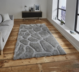 Noble House Nh5858 Silver Shaggy Hand Tufted Rug - 70% Acrylic 30% Polyester