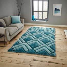 Noble House Nh8199 Blue Shaggy Hand Tufted Rug - 70% Acrylic 30% Polyester