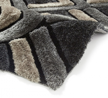Noble House Nh8199 Grey Shaggy Hand Tufted Rug - 70% Acrylic 30% Polyester
