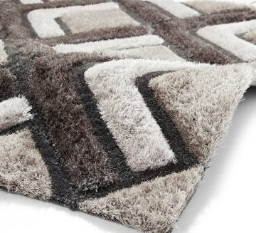 Noble House Nh8199 Silver Shaggy Hand Tufted Rug - 70% Acrylic 30% Polyester