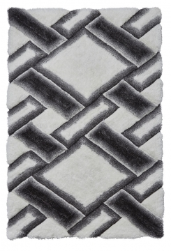Noble House Nh9716 Grey/ivory Shaggy Hand Tufted Rug - 70% Acrylic 30% Polyester