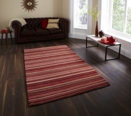Oxford Ox 10 Red/beige Modern Hand Loom Knotted Rug - 100% Wool