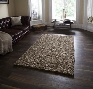 Pebbles Beige Shaggy Hand Knotted Rug - 100% Wool