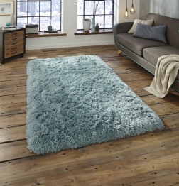 Polar Pl 95 Light Blue Shaggy Hand Tufted Rug - 100% Micro Fibre Acrylic
