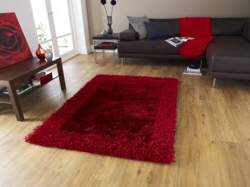Sable 2 Red Shaggy Hand Tufted Rug - 100% Viscose