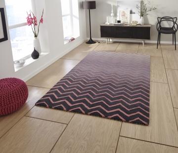 Spectrum Sp22 Grey/pink Modern Hand Tufted Rug - 100% Wool