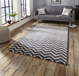 Spectrum Sp22 Grey/white Modern Hand Tufted Rug - 100% Wool