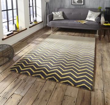 Spectrum Sp22 Grey/yellow Modern Hand Tufted Rug - 100% Wool
