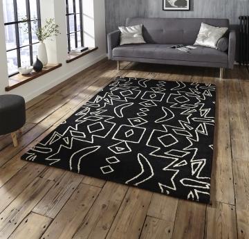 Spectrum Sp41 Black/white Modern Hand Tufted Rug - 100% Wool