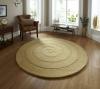 Spiral Gold Circular Hand Tufted Rug - 100% Wool