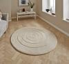 Spiral Ivory Circular Hand Tufted Rug - 100% Wool