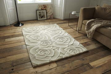 Valentine Vl 10 Beige Floral Hand Tufted Rug - 100% Wool
