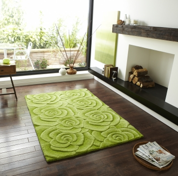 Valentine Vl 10 Green Floral Hand Tufted Rug - 100% Wool