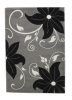 Verona Oc15 Grey/black Floral Machine Made Rug - 100% Polypropylene