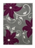 Verona Oc15 Grey/purple Floral Machine Made Rug - 100% Polypropylene