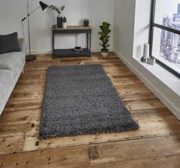 Vista 2236 Dark Grey Shaggy Machine Made Rug - 100% Polypropylene