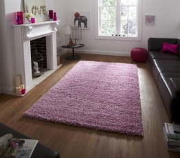 Vista 2236 Pink Shaggy Machine Made Rug - 100% Polypropylene