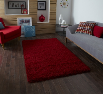 Vista 2236 Red Shaggy Machine Made Rug - 100% Polypropylene