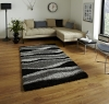 Vista J241 Black/grey Shaggy Machine Made Rug - 100% Polypropylene